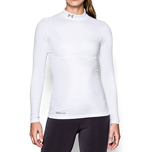Under Armour Women's ColdGear Authentic Mock, White (100)/Metal, Small