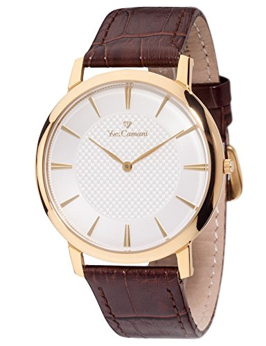 Yves Camani Ciron Mens Watch Quartz Stainless Steel Gold Plated Brown Leather Strap YC1070-B