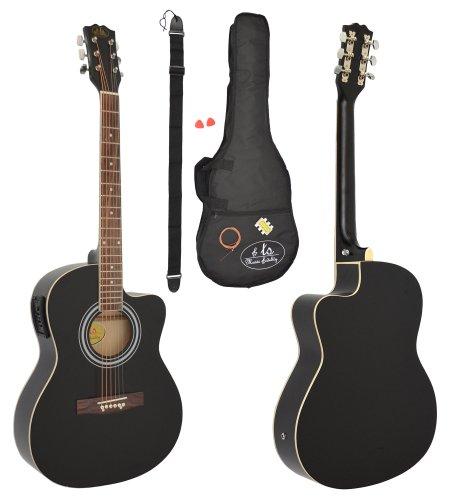 Elektro Akustik Westerngitarre schwarz mit 4 Band EQ Pickup / Tonabnehmer und Zubehörset: gepolstert