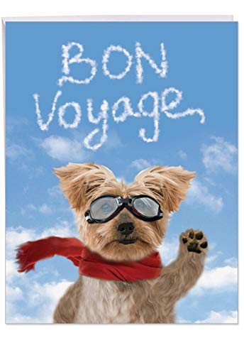 J6345BVG-US Jumbo Humorous Bon Voyage Card From All of Us: Goodbye Dog, with Envelope 8.5 x 11 Inch