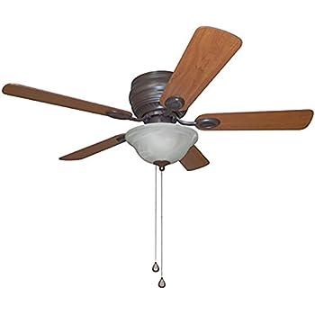 Harbor Breeze Mayfield 44 In Bronze Flush Mount Indoor Ceiling Fan With Light Kit Amazon Com