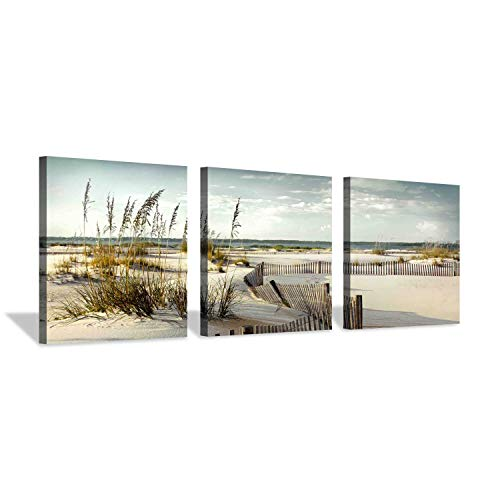 Beach Scenery Picture Seascape Art: Coastal Sand Dunes Path Canvas Print Set (Best Side By Side For Sand Dunes)