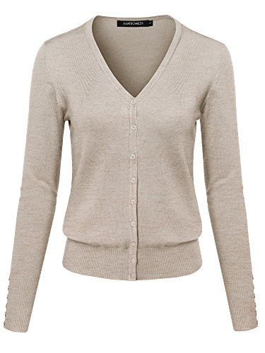 Basic Solid V-Neck Button Closure Long Sleeves Sweater Cardigan Khaki M ()