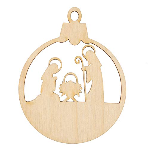 Factory Direct Craft Unfinished Wood Nativity Ornament Cutout | 6 Pieces]()