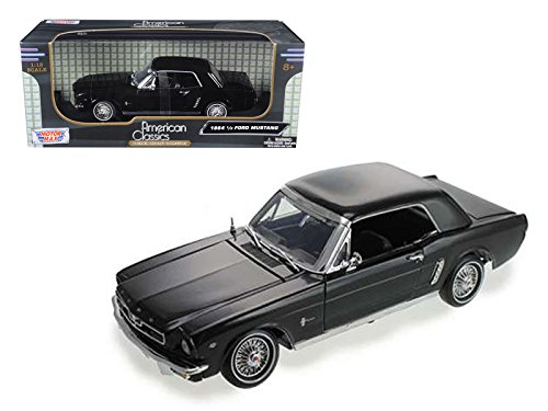 Motormax 73164 1964 1/2 Ford Mustang Hard Top Black with White Stripes 1/18 Diecast Car Model