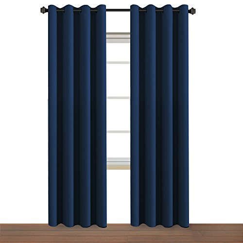 H.VERSAILTEX Innovated Rich Microfiber Blackout Window Treatment Curtains,Thermal Insulated Grommet Panels Living Room-52 W 84
