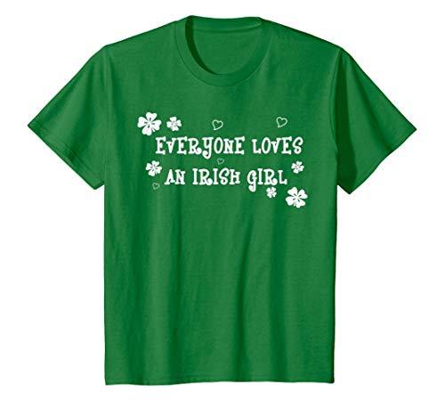 Kids Everyone Loves An Irish Girl St. Patrick's Day T-Shirt 4 Kelly Green (Irish Green Boys Love)