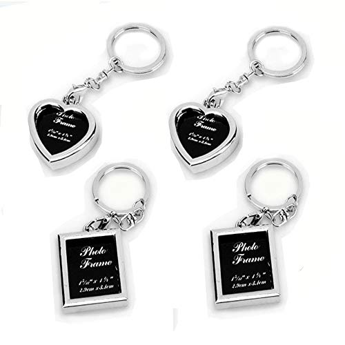 zison 4PCS Picture Frame Keychains - New Design 2 Different Shapes (Square, Heart) Stainless Steel Photo Frame Key Ring Set