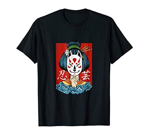 geisha shirt Kitsune mask traditional girl japanese art ()