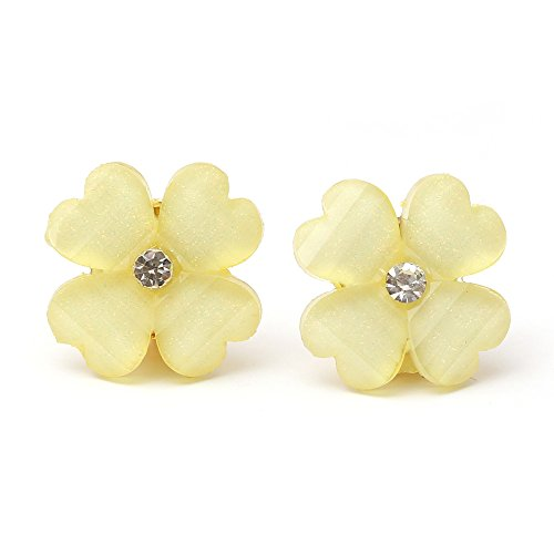 Idin - Yellow crystal effect and rhinestone four leaf clover with gold-tone clip earrings (ca. 0.7