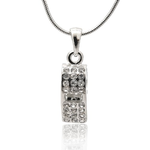 Spinningdaisy Silver Crystal Whistle Necklace