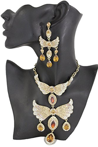 Material Girl Costume Madonna (TFJ Women Fashion Gold Metal Angel Wings Pendant Fancy Style Necklace Long Jewelry)
