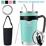 20oz/30oz Tumbler, Travel Coffee Mug Set for Cold & Hot Drinks. Double Wall Stainless Steel Vacuum Tumbler With Splashproof Lids, Straws, Brush, Handle, Tumbler Sleeve (20oz Seafoam Green Kit, 20oz)