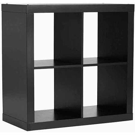 Storage Solution Better Homes and Gardens Square 4-Cube Organizer, Multiple Colors (Solild Black)