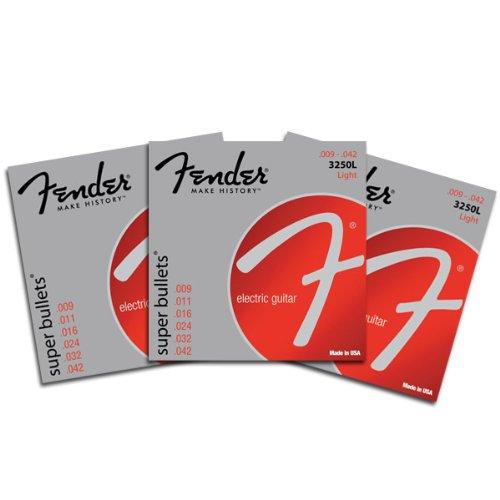 Fender Super Bullets Electric Guitar Strings Light 3250L 9-42 3 pack by Fender