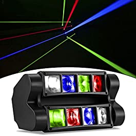 DJ Lights RGBW LED 2nd Version Moving Head Stage Lights Sound Activated Disco Lights Compatible with DMX-512 Controller…