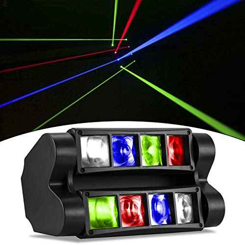 DJ Lights RGBW LED 2nd Version Moving Head Stage Lights Sound Activated Disco Lights Compatible with DMX-512 Controller for Wedding Dance Birthday Event Party