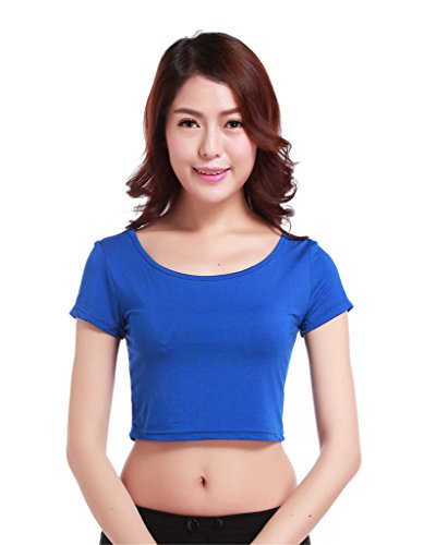 GladThink la mujer musulmana camiseta de manga corta de media longitud y Azul