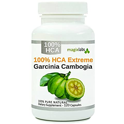 100% HCA EXTREME Garcinia Cambogia - Pure Extract - Highest Potency - 120 Caps - Fast Action Diet Pills: Fat Burner, Carb Blocker + Appetite Suppressant for Weight Loss by (Carcinia Cambogia Premium)
