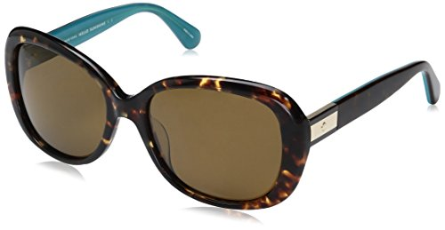 Kate Spade Women's Judyann/p/s Oval Sunglasses, HAVANA TURQUOISE/BRONZE POLARIZED, 56 ()