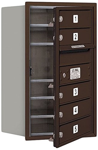 Salsbury Industries 3707S-05ZFU 4C Horizontal Mailbox, Bronze Single Column Rear Loading