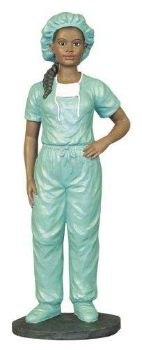 African American Figurine Medical Female Scrub Nurse by Ebony (Collectible Nurse Angel Figurine)