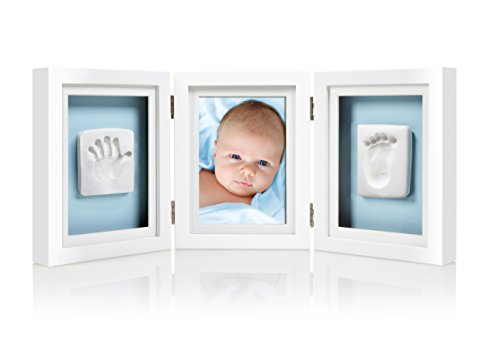 Pearhead Babyprints Newborn Baby Handprint and Footprint Deluxe Desk Photo Frame & Impression Kit - Makes A Perfect Baby Shower or Fathers Day Gift, White ()