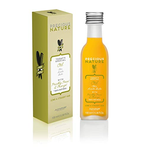 Alfaparf Milano Precious Nature Long & Straight Hair Oil - Enriched with Prickly Pear Oil and Orange Extract - Resists Humidity, Detangles and Creates Shine - Professional Salon Quality - 3.38 fl. oz.