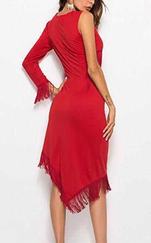 56681abc1d00 Donna Irregular Promenade Elegante Ginocchio Abiti Ondo Vestiti Unico Nappe  Abbigliamento Rosso Collo Ragazza Rossi Slim Del ...