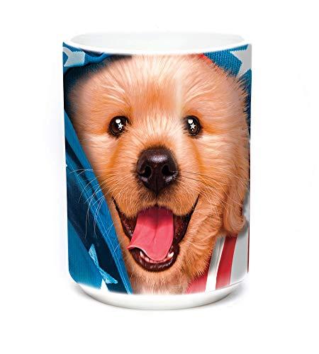 The Mountain Unisex-Adult's Patriotic Golden Pup Coffee Mug, black, 15 ()
