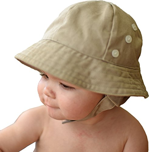 (Huggalugs Baby & Toddler Boys Tan Twill Earflap UPF 50+ Sunhat with Chinstrap)