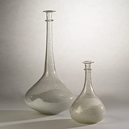 Amazon Set 2 Gold Flecked White Glass Modern Vases Roman Old