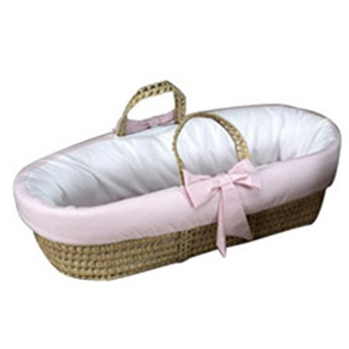 Baby Doll Bedding Gingham Trim Moses Basket, Pink from BabyDoll Bedding