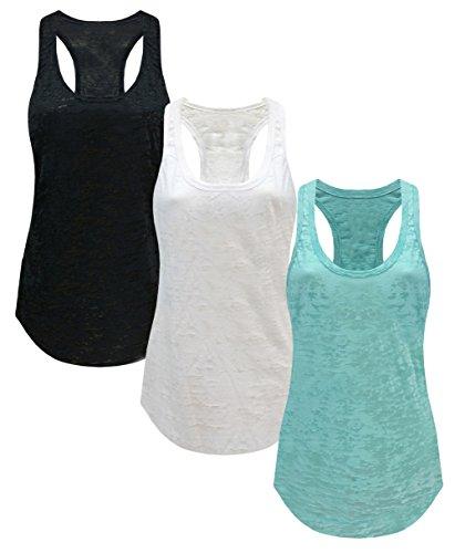 Tough Cookie's Women's Plain Burnout Racerback Workout Tank Tops (Small - LF, Black/White/Mint) (Black Burnout Tank)