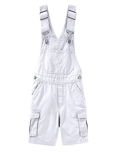 Mens Bib Overalls Shorts Cargo Lightweight Casual Loose Fit Jumpsuit One Piece Coverall Romper with Pockets White