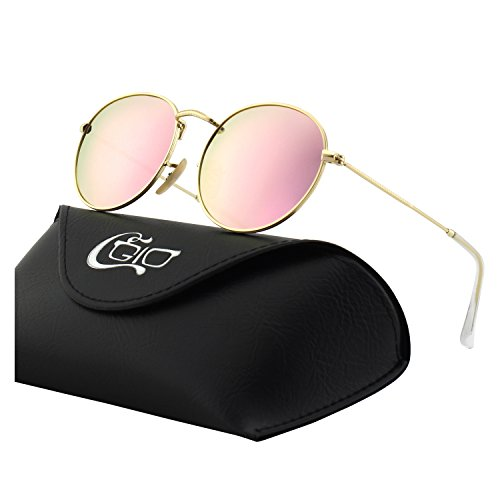 CGID E47 Retro Vintage Style John Lennon Inspired Circular Circle Metal Rimmed Round Polarized Sunglasses Goggles Shades for Men and Women with Gift -