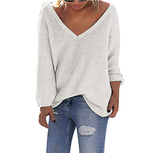 Sunhusing Women's Fall Winter Loose Long Sleeves Deep-V Neck Knitwear Sweater Pullover Blouse White]()