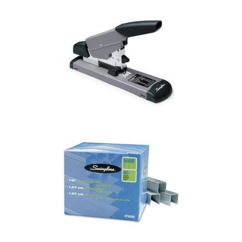 Swingline Heavy Duty Stapler, 160 Sheets, Black/Gray (S7039005) + Heavy-Duty Staples by Swingline