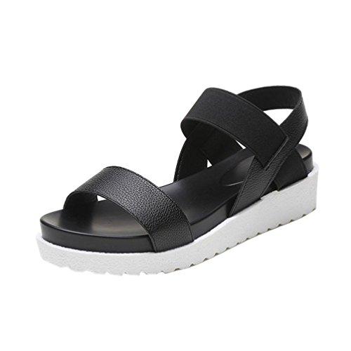 Zapatos moda cuero de 5 Sandalias ZycShang 5 Tamaño Negro Sandalias para de de envejecido de mujer Sandalias mujer planas mujer 8 zXwqOw
