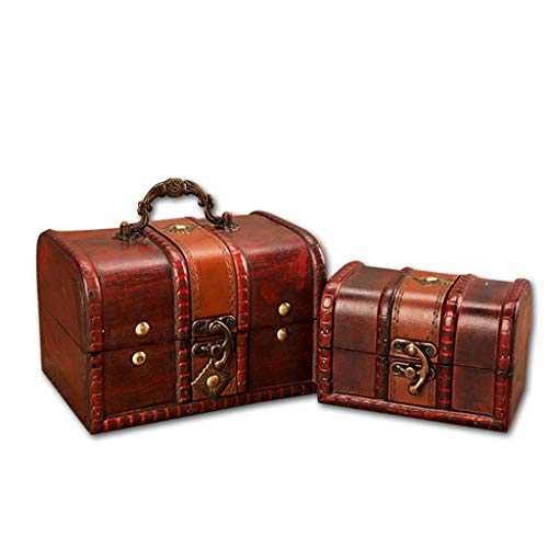PENGYGY Vintage Wood Box Jewelry Handmade Box with Mini Metal Lock for Storing Cash Treasure Pearl ()