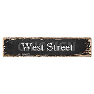 West Street Sign Chic rústico calle Placa Cartel Bar Cafe restaurante shop Home Decor de pared para cocina señal digital impreso