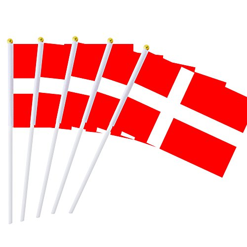 """Hand Held Denmark Flag Danish Flag Stick Flag Mini Flag 50 Pack Round Top National Country Flags, Party Decorations Supplies For Parades,World Cup,Sports Events,International Festival (8.2 """"x 5.5"""")"""