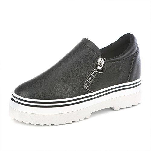 Verano plataforma lado zip zapatos zapatos de mujer/puEstudiantes perezosos con zapatos bajos A