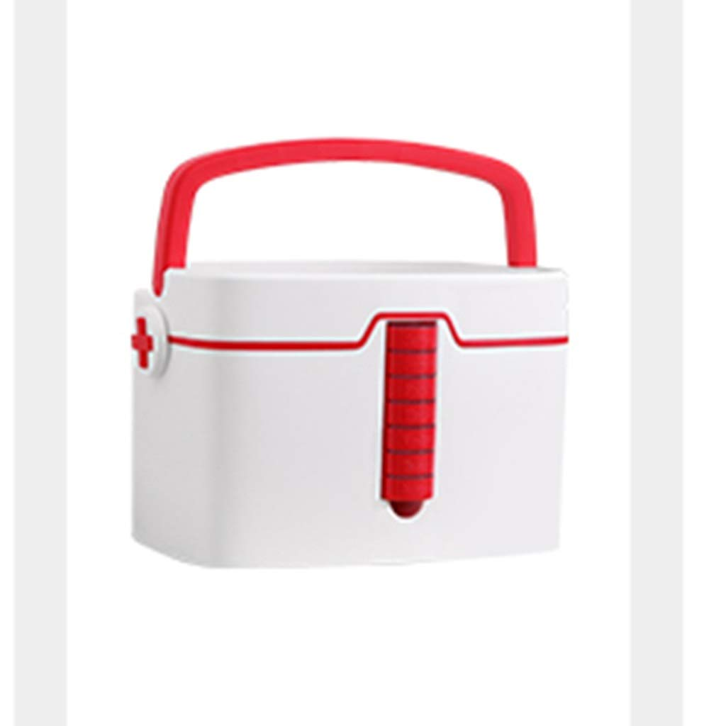 HMMSP Emergency Bag Extra Large Medicine Box Portable Medicine Storage Box Carrying Handle 33.7 X 24 X 22.7cm Available in Two Colors (Size : Red) by HMMSP