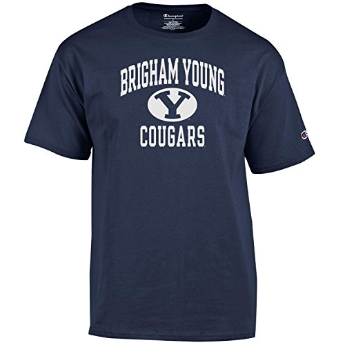 Champion NCAA Men's Shirt Short Sleeve Officially Licensed Team Color Tee, BYU Cougars, -