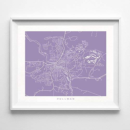 Pullman Washington Street Road Map Home Decor Poster Urban City Hometown Wall Art Print - 70 Color Options - Unframed