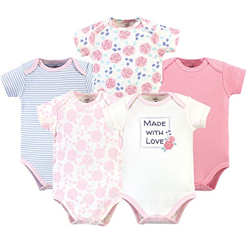 Rosebud Onesie - Touched by Nature Unisex Baby Organic Cotton Bodysuits, Pink Rose 5 Pack, 6-9 Months (9M)