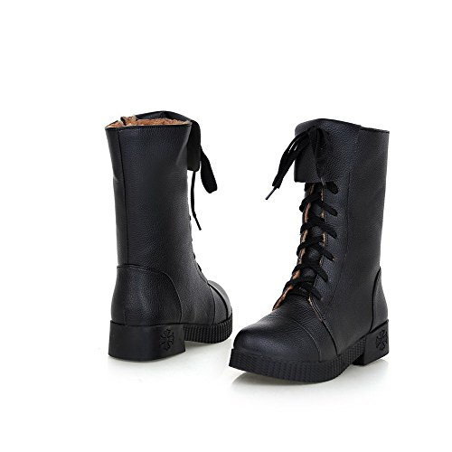 Allhqfashion Women's Solid Low Heels Round Closed Toe Pu Lace-up Boots with Knot Black 45xg8