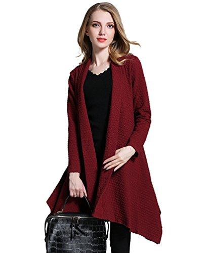 Cardigan Rosso Cappotti Manica Autunno Slim Maglieria Fit Elegante Lunga Donna Irregolare Casuale Dooxi YgPqw7P