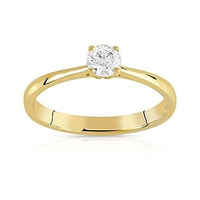 Qualité supérieure 8373b ec08b MATY - 0730602.T48 - Bague solitaire or 750 jaune diamant 25 ...